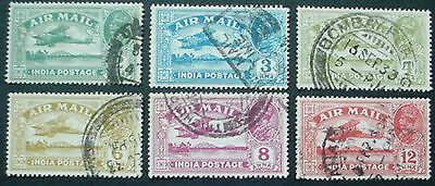 1929: India: Airmail: Set Of 6 Used Stamps
