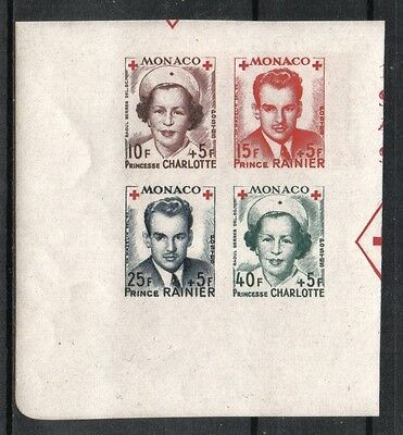 [MoB096b]  Monaco 1949 Red Gross Issue Block of 4 Imperforate MNH
