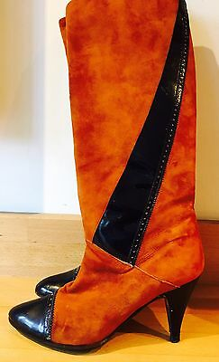 Vintage Boots 5 Rare 80s Suede Knee High Luxe Brand Patent Italy Tan Stunning!