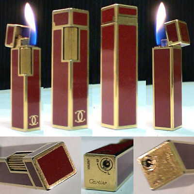 BRIQUET * CARTIER Stick Rare Laque *  Vintage Gas LIGHTER FEUERZEUG ACCENDINO *