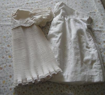 2 x Original Vintage Baby Dresses for Large Doll. White/ Cream