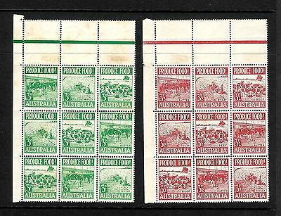 1953 Food Production Block of 9 Red & Green Pair MUH tone spots