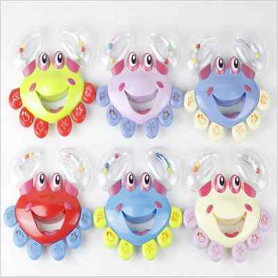1pcKids Baby Crab Design Handbell Musical Instrument Jingle Shaking Rattle Toy -