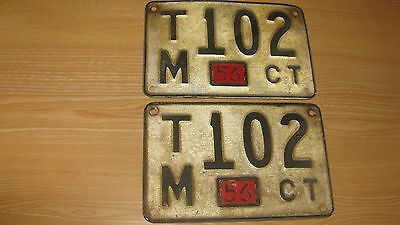 1956 Connecticut License Plate Pair Set W/ Tab  56 Conn Ct  Tm 102 Potential Yom