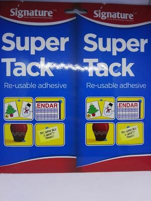 Super Blue Tack Re-usable Adhesive Putty Repositionable Glue 2 x 75g OTL