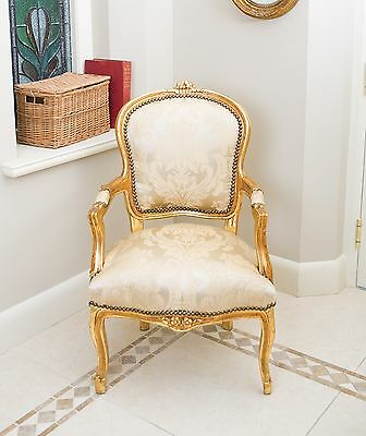 French Louis Armchair Gold Damask Shabby Chic Bedroom Hallway Wooden Frame Chair
