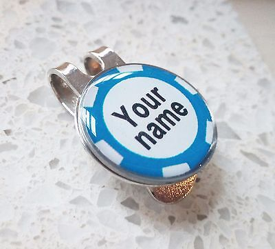 anneys-your OWN PERSONALISED*l/blue poker chip style golf ball marker +HAT clip*
