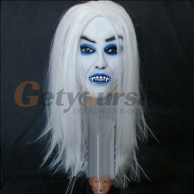 New Ghost Mask Scary Mask Halloween Toothy Zombie Bride With White Hair Horror
