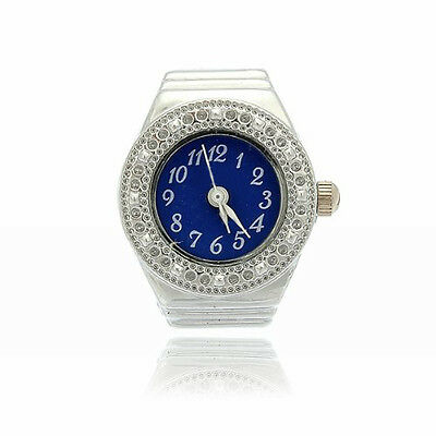 Finger Ring Ring Watch Bezel Quartz Arabic Numeral Silver blue NEW WS XV