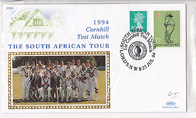cricket FDC first day cover Benham 1994 Cornhill Test South Africa Lords
