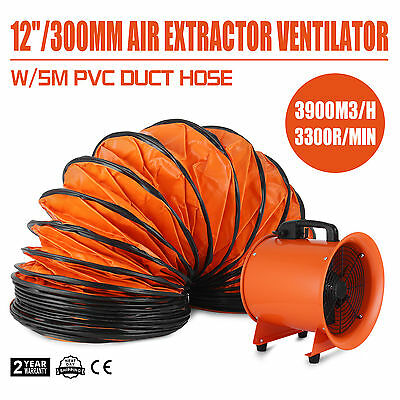 12 Dust Fume Extractor/Ventilation Fan+5m Ducting Factories High Velocity  New