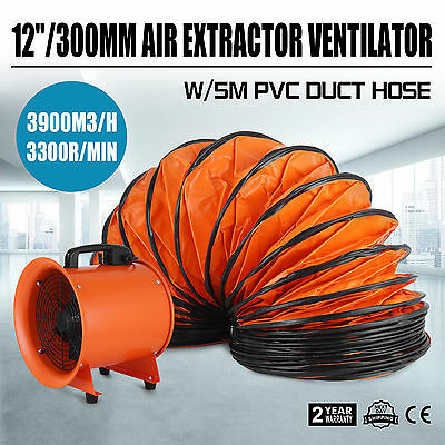 12 Dust Fume Extractor/Ventilation Fan+5m Ducting Electrical Small Warehouses