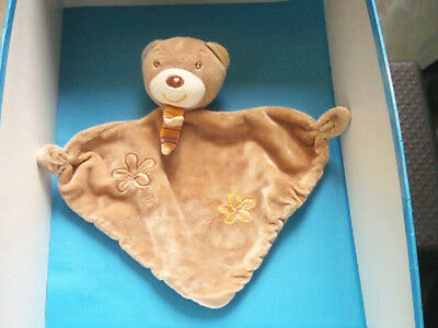 """Doudou 1922 / Plat Triangle Ours """"baby Club C&a """" Brun - Brode Fleurs"""