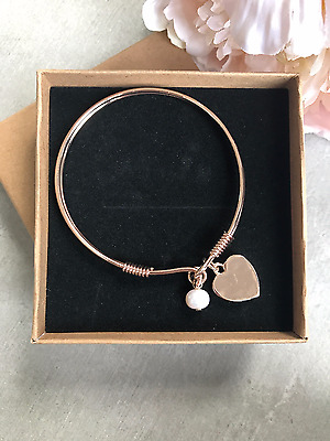 Rose Gold Heart Bangle Bracelet with Heart and Pearl Charm