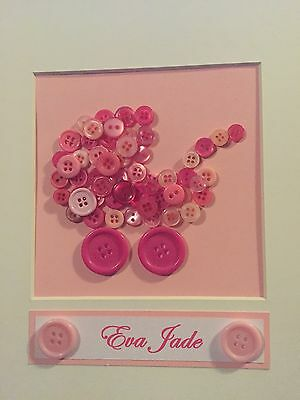 Personalised Baby Girl Baby Boy Button Art Frame, Christening, New Baby