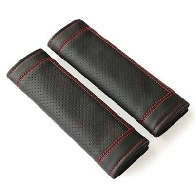 2Pcs PU Leather Car Seat Belt Shoulder pads Cover Black & Red WS XV
