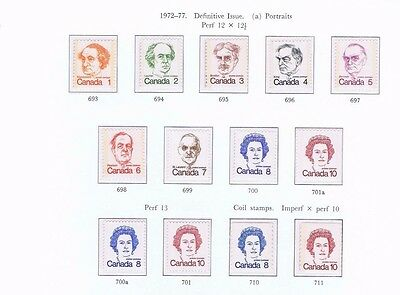 canada stamps elizabeth ii SG693-Sg711 1972-1977 Definitive Issue   .... Mint