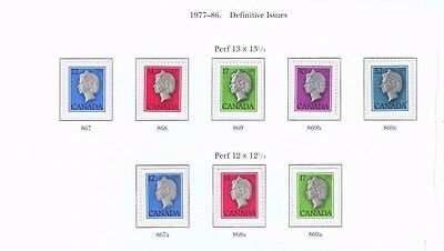 canada stamps elizabeth ii sg867-sg874d 1977-86 Definitive Issues... Mint ...