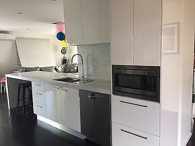 EUC Complete modern Galley Kitchen marble, Induction cooktop, rangehood, sink