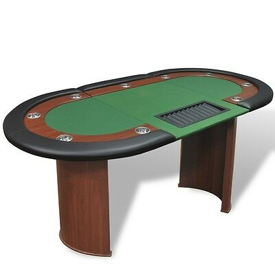 10 Player Casino Poker Table Leg Folding Top Dealer Area Chip Tray Cup Holder