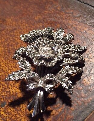 VINTAGE  1950 'S EXQUISITE BIRTHDAY BROOCH  -  POPPY FOR AUGUST - rare Marcasite