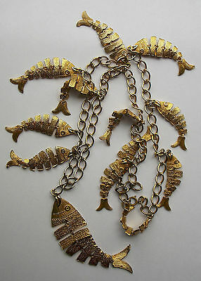Large vintage 1960s /1970s heavy lavalier necklace with 13 articulated gilt fish