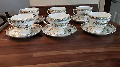 6 x Foley Ming Rose China Teacups & saucers Made in England