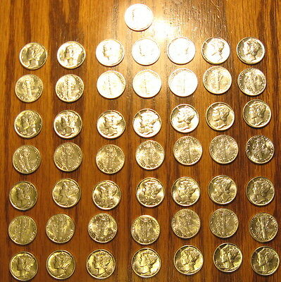 Choice Bu Roll Of 1943 Mercury Head Dimes 50 Uncirculated Coins