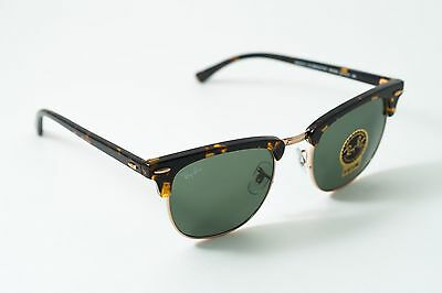 Ray Ban Clubmaster Sunglasses RB 3016 W0366 51mm Tortoise G-15 Lens Unisex New