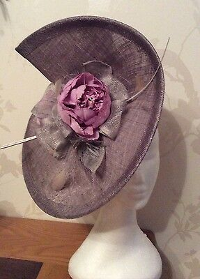 Pewter  grey and liliac fascinator, mother of the bride/ groom ascot , weddings