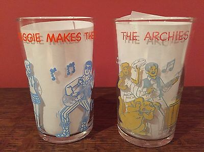 Set Of 2 1971 Archie Comics Welch's Jelly Jar Drinking Glass