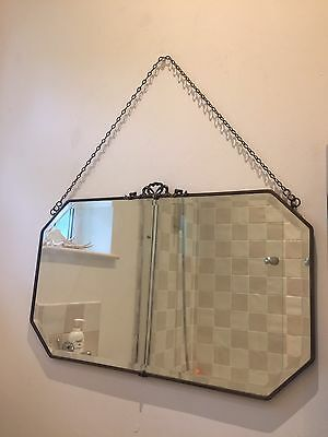 Vintage Art Deco Style Wall Mirror With Hanging Chain