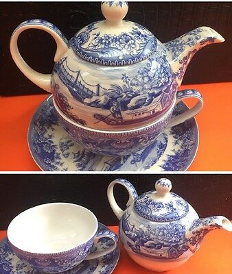 Past Times - Blue And White shabby chic tea for one set - 3 Pieces - Rare