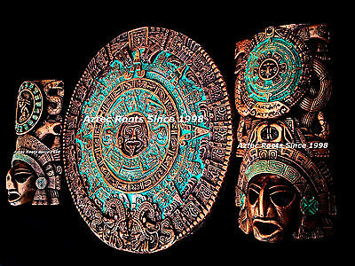 Aztec Calendar Latin American Mask Head Maya Mayan Mexico Wall Plaque Decor Art