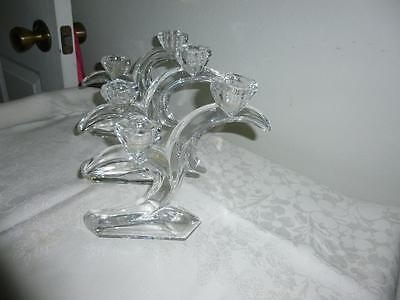 Art Deco French Clear Glass Candlestick - 2 lights
