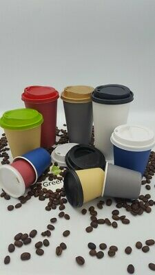 4/8/12/16oz Disposable Paper Cups Solid Colour Single Wall Cups With Lids