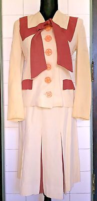 VTG 1940s 40s Ivory Rust Rayon Gabardine Kick Pleats Huge Buttons Sailor Suit
