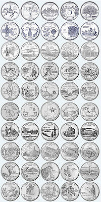 """Us State Quarter Complete Set 1999-2008  Uncirculated """"p"""""""