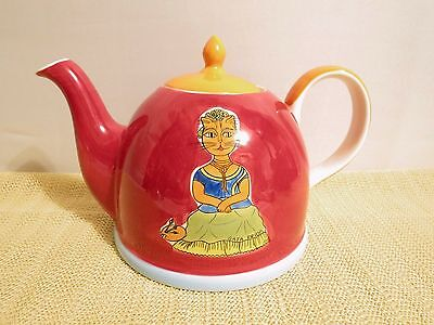 "Cat Teapot 6 1/2"" FRIDA EUC Hand Painted Portugal Designed Porcelain China"