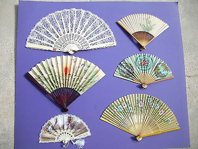 Lot of 6  Hand Held Fans Spain China