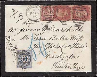 1877 SG43 & SG48 on an underpaid mourning envelope to Winterthur, Switzerland.