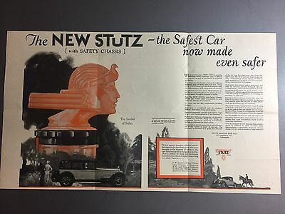 """1926 Stutz """"New Safety Stutz"""" Showroom Advertising Poster RARE!! Awesome L@@K"""
