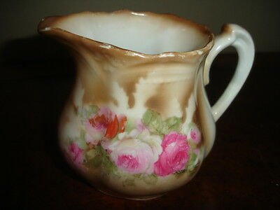 A27    Antique Vintage Hand Painted Cabbage Rose Brown Trim Creamer