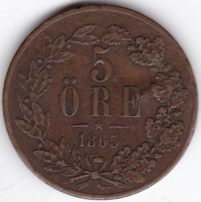 1865 Sweden 5 Ore***Collectors***Bronze***