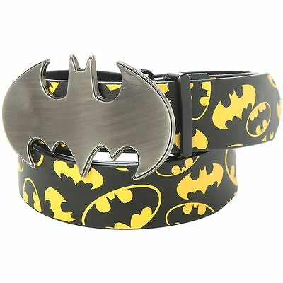 BATMAN Belt Reversible with Metal Logo Buckle Black and Yellow New