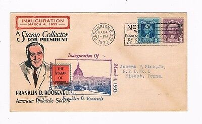 """March 4, 1933  First FDR Inauguration """"A Stamp Collector for President"""""""