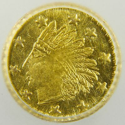 1853 California Gold Coin Round Indian Token - Solid Gold (MS65)