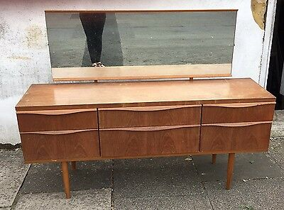 Vintage Mid Century Retro Teak 1970 s dressing table With 6 Drawers