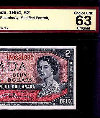EXTREMELY RARE!!! Replacement $2. *R/R0281662. ORIGINAL!!! ChUNC!!! 1954. Canada