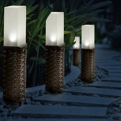 Rattan Style Solar Powered Motion Ground Post Path Stake Lights Garden Patio UK